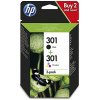 Pack Tinta HP 301 Negros + 301 Color